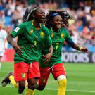 Cameroon's forward Ajara Nchout (l) celebrates after scoring her second goal during the Women's World Cup Group E match at the Mosson Stadium in Montpellier. Photo: Pascal Guyot/Getty Images