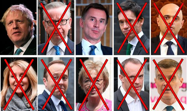 And then there were two: Boris Johnson and Jeremy Hunt are the only ones left standing after a series of votes by Conservative Party colleagues that reduced the field from 10 candidates. Photo: PA