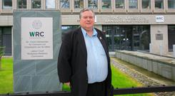 Talks: Siptu health division rep Paul Bell arrives at the WRC. Photo: Gareth Chaney, Collins
