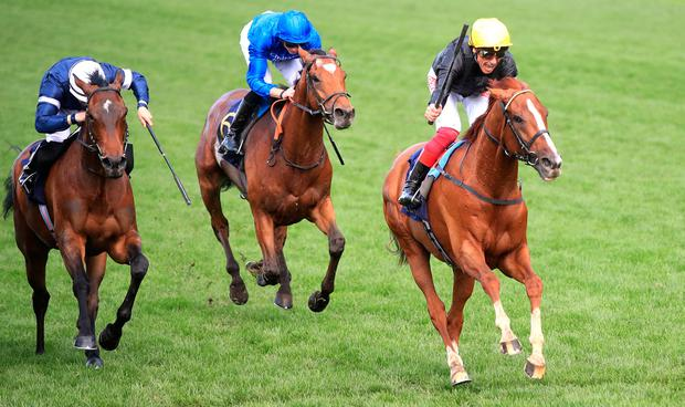 Stradivarius ridden by Jockey Frankie Dettori (right) wins the Gold Cup during day three of Royal Ascot at Ascot Racecourse. Photo: PA