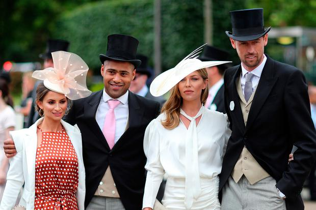 (L-R) Laura Johnson, Glen Johnson, Abbey Clancy and Peter Crouch on day three, Ladies Day, of Royal Ascot at Ascot Racecourse on June 20, 2019 in Ascot, England. (Photo by Chris Jackson/Getty Images)