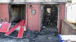 The scene of one of the firebomb attacks in Moneymore estate in Drogheda last Thursday.