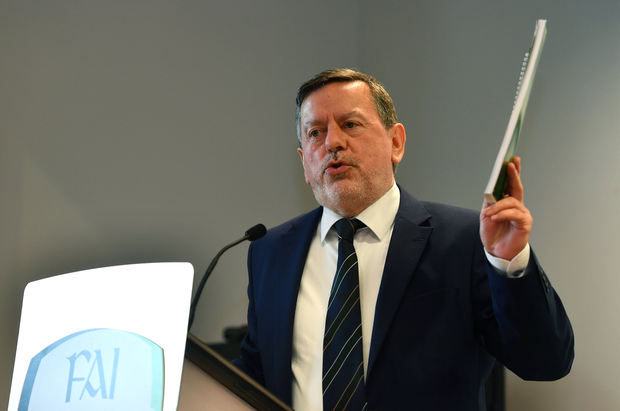 FAI President Donal Conway speaking during the Launch of Governance Review Group report at the Football Association of Ireland, National Sports Campus in Abbotstown, Dublin. Photo by Sam Barnes/Sportsfile