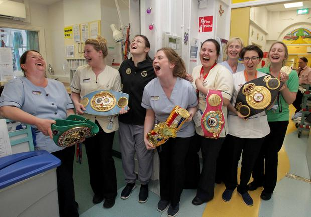 Katie with the staff the surgical flat ward during a very special visit to Temple Street PHOTO: Mark Stedman