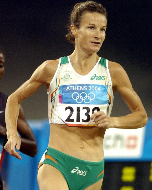 Sonia O'Sullivan running in Athens Summer Olympics Games in 2004. Photo: Brendan Moran / Sportsfile