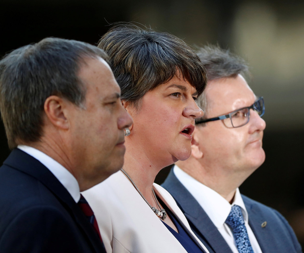 Nigel Dodds, Arlene Foster and Jeffrey Donaldson of the DUP. Photo: REUTERS/Stefan Wermuth/File Photo