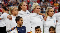 England's Steph Houghton, Karen Bardsley, Millie Bright and Rachel Daly. Photo: Eric Gaillard/Reuters