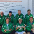 Victorious Ireland team of Scott Barron (Monkstown), Stewart Doyle (Blackrock), Owen Casey (Donnybrook), John Rendina (Castleknock), Ross Niland (Limerick), Alan Donnelly (Naas) and non-playing Captain Garbhan O'Nuallain (Greystones) with the Potter Cup