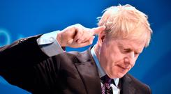 Conservative party leadership candidate Boris Johnson during the first party hustings at the ICC in Birmingham Photo: Ben Birchall/PA Wire
