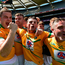 Leitrim players, from left, Thomas Glancy, David McGovern, Cathal O'Donovan and Pauric McWeeney celebrate