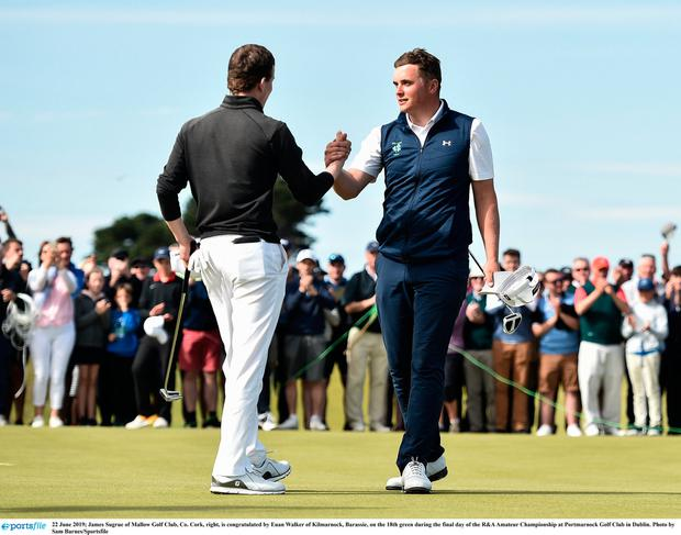 James Sugrue of Mallow Golf Club, Co. Cork, right, is congratulated by Euan Walker