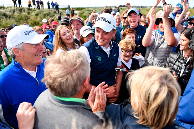 James Sugrue of Mallow Golf Club is congratulated by supporters after winning the R&A Amateur Championship at Portmarnock. Photo: Sam Barnes