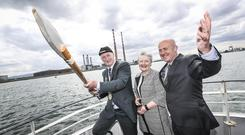 EVENT: Former Lord Mayor of Dublin Nial Ring (left), with Lucy McCaffrey, chairperson of Dublin Port Company, and Eamonn O'Reilly, chief executive. Photo Conor McCabe