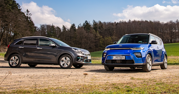 Timely: The Kia Niro and Soul, right, are good electric vehicles but price and luggage space must be considered