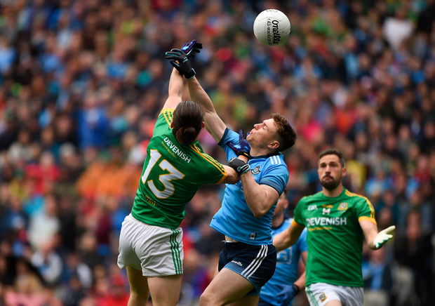 John Small of Dublin in action against Cillian O'Sullivan of Meath during the Leinster GAA Football Senior Championship Final match at Croke Park in Dublin. Photo by Daire Brennan/Sportsfile