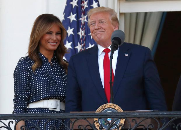 Uncertainty: US President Donald Trump with wife Melania at an event in the White House at the weekend. AP Photo/Jacquelyn Martin