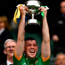 Michael Flood lifts the trophy. Photo by Ray McManus/Sportsfile