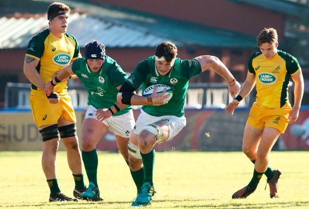 Ryan Baird's stunning 49-minute try stood out amongst some sloppy Ireland play against New Zealand. Photo: Florencia Tan Jun/Sportsfile