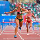 Sarah Lavin in action at the European Games in Minsk yesterday, where she finished second in her heat of the 100m hurdles in 13.46. Photo: Seb Daly/Sportsfile