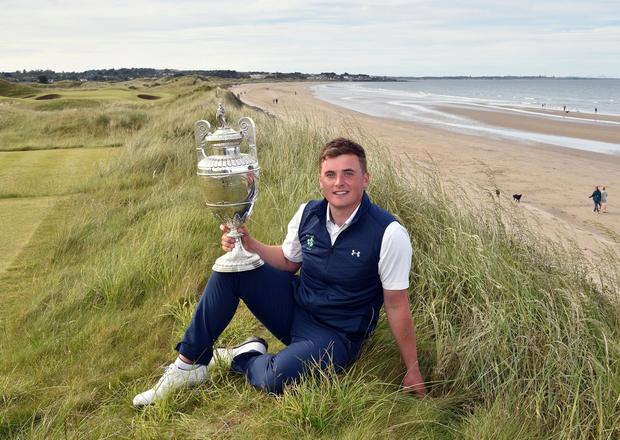 James Sugrue (Mallow) winner of the 2019 The Amateur Championship at Portmarnock Golf Club today. Photo: Pat Cashman