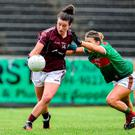 Galway's Roisin Leonard in action against Danielle Coldwell of Mayo in yesterday's Connacht Ladies SFC final. Photo: Matt Browne/Sportsfile