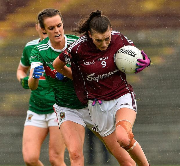 Aine McDonagh of Galway battling Mayo's Clodagh McManamon. Photo: Matt Browne/Sportsfile