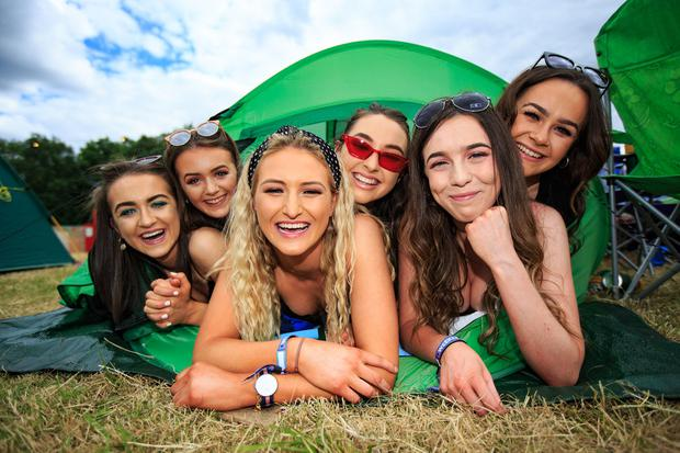 Roisin Dolan, Ruth Gilsen, Molly Fitzgerald, Niamh Gillick, Emma McCabe and Annie O'Reilly at the Body & Soul Festival in Westmeath. Photo: Mark Condren