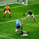 Dublin's Con O'Callaghan is fouled by Meath's Conor McGill resulting in a penalty during yesterday's Leinster SFC final. Photo by Brendan Moran/Sportsfile