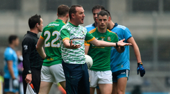 Andy McEntee remonstrates with the referee during yesterday's Leinster SFC final in Croke Park. Photo by Daire Brennan/Sportsfile