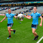 Leinster lords and masters: Raheny clubmates Brian Howard and Brian Fenton celebrate with the Delaney Cup in Croke park yesterday. Photo by Daire Brennan/Sportsfile