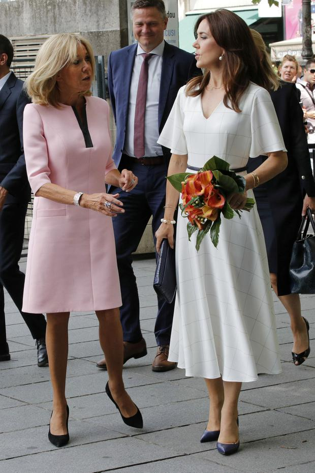 Brigitte Macron, the wife of French President Emmanuel Macron, and Danish Crown Princess Mary arrive for a visit at the Centre Georges Pompidou modern art museum in Paris, France, June 24, 2019. REUTERS/Philippe Wojazer