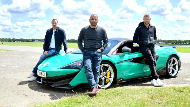 Chris Harris with Paddy McGuinness, left, and Freddie Flintoff (Ian West/PA)