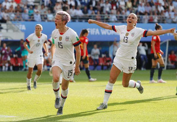 Megan Rapinoe of the USA celebrates scoring her second penalty in the Women's World Cup last 16 win over Spain at Stade Auguste-Delaune, Reims, France. Photo: REUTERS/Bernadett Szabo