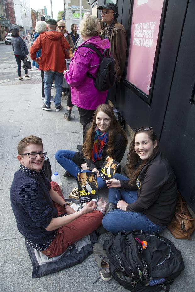 "Nate Cole, Kildare, Shannon McDavid, New York and Jaime Kass, Dundrum pictured in the que for Roddy Doyles ""Two Pints"