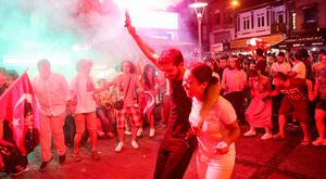 Jubilant: People celebrate after the result of Istanbul's re-run mayoral elections is announced. Photo: ADEM ALTAN/AFP/Getty Images