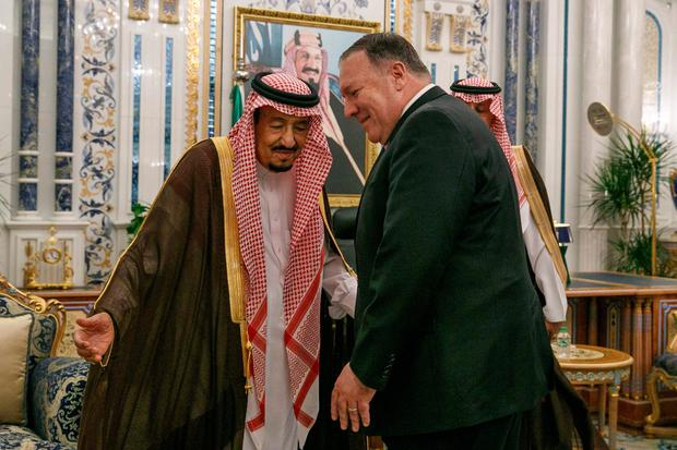 Talks: US Secretary of State Mike Pompeo meets Saudi King Salman bin Abdulaziz. Photo: JACQUELYN MARTIN/AFP/Getty Images