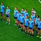 The Dublin team stand for the national anthem prior to the Leinster GAA Football Senior Championship Final against Meath at the weekend. Photo: Brendan Moran/Sportsfile