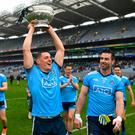 Out on their own: Dublin's Brian Howard, with Michael Darragh Macauley, lifts the Delaney Cup on Sunday – they're likely to be raising the Sam Maguire again later this summer. Photo: Ray McManus/Sportsfile