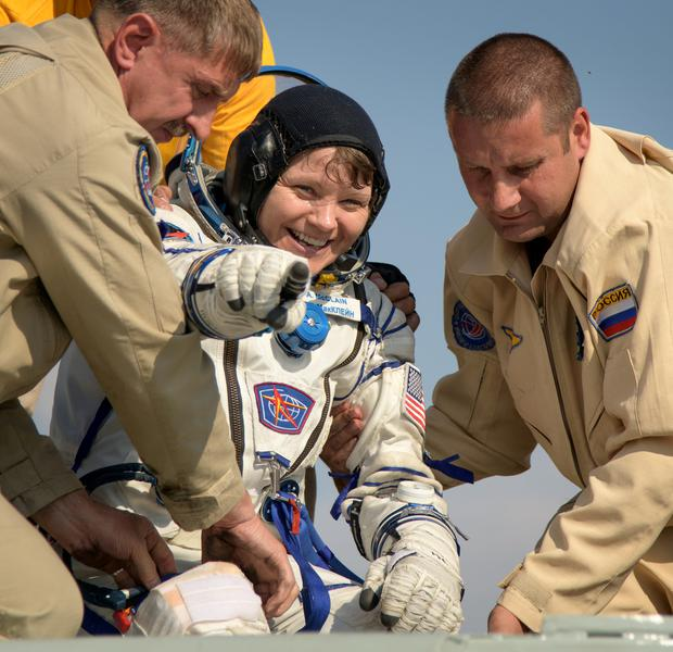 Expedition 59 NASA astronaut Anne McClain is helped out of the Soyuz MS-11 spacecraft Picture: NASA/Bill Ingalls/Handout via REUTERS