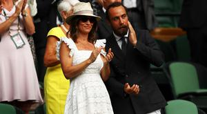 (L-R) Pippa Middleton and James Middleton attend day four of the Wimbledon Lawn Tennis Championships at All England Lawn Tennis and Croquet Club on July 5, 2018 in London, England. (Photo by Michael Steele/Getty Images)