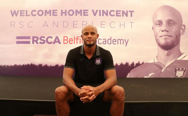 Anderlecht player-coach Vincent Kompany poses for a photograph during the press conference to announce his arrival at the Belgian club. Photo: Reiters/Yves Herman