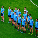 The Dublin team stand for the national anthem prior to the Leinster GAA Football Senior Championship Final match between Dublin and Meath at Croke Park in Dublin. Photo by Brendan Moran/Sportsfile
