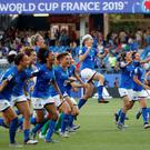 Italy players celebrate after the Women's World Cup Round of 16 win over China at the Stade de La Mosson, Montpellier, France. Photo: REUTERS/Jean-Paul Pelissier