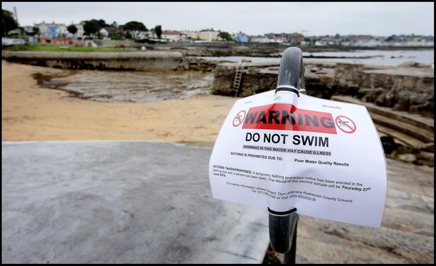 Warning signs at Sandycove Beach as an Irish heatwave is expected. Pic Steve Humphreys
