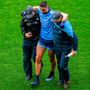 Dublin's James McCarthy leaves the pitch with an injury during the first half of the Leinster SFC final win over Meath. Photo: Brendan Moran/Sportsfile
