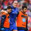 Devin Toner of Leinster leaves the pitch with an injury during the Guinness PRO14 semi-final match between Leinster and Munster at the RDS Arena in Dublin. Photo by Ramsey Cardy/Sportsfile