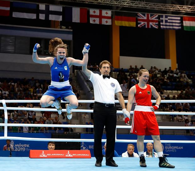 Ireland's Michaela Walsh celebrates beating Germany's Omella Warner in her Women's Featherweight quarter-final during day six of the European Games in Minsk. Photo: Martin Rickett/PA Wire