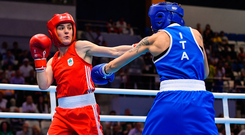 Ireland's Kellie Harrington, left, in action against Irma Testa of Italy during their Womens Lightweight quarter-final bout at Uruchie Sports Palace on Day 6 of the European Games in Minsk, Belarus. Photo: Seb Daly/Sportsfile