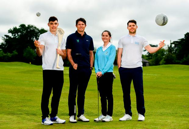 Pictured at the AIG Insurance GUI & ILGU Cups & Shields Launch at Carton House in Maynooth are, from left, Dublin hurler Eoghan O'Donnell of Dublin, Robbie Cannon of Balbriggan Golf Club, Eleanor Metcalfe of Laytown and Bettystown Golf Club and Dublin footballer Kevin McManamon. Photo: Sam Barnes/Sportsfile