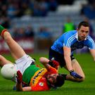 Between a Rock and a hard place: Dublin's Dean Rock has a shot blocked by Carlow's Seán Murphy during the Leinster SFC clash between the two teams in 2017. Photo: Ray McManus/Sportsfile